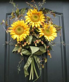Items similar to Sunflower Bouquet - Front Door Decor - Summer Wreath - Summer Blueberries on Etsy Front Door Decor, Wreaths For Front Door, Door Wreaths, Sunflower Bouquets, Sunflower Wreaths, Sunflower Flower, Sunflower Fields, Floral Bouquets, Wreath Crafts