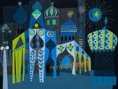 """Oopsy daisy, Fine Art for Kids presents Disney® """"It's a Small World - Blue Moroccan Facade"""" Canvas Wall Art $119"""