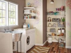 Take advantage of wall space and create organized storage in your laundry room by using adjustable shelves, like these from ClosetMaid's ShelfTrack and ShelfTrack Elite. Well-placed shelves over a counter or in a niche keep supplies close at hand, but also off the floor and out of the way of your work area.