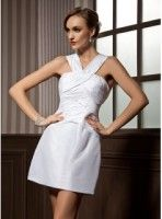 Sheath V-neck Short-Mini Taffeta Cocktail Dress With Ruffle