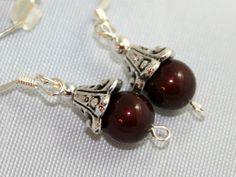 Burgundy swarovski beaded earrings antiqued bead
