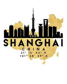 SHANGHAI CHINA SILHOUETTE SKYLINE MAP ART -  The beautiful silhouette skyline of Shanghai and the great map of China in gold, with the exact coordinates of shanghai make up this amazing art piece. A great gift for anybody that has love for this city.  shanghai china downtown silhouette skyline map coordinates souvenir gold