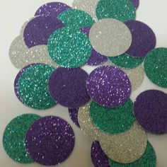 100 Purple Silver Turquoise Glitter Confetti circles perfect for Frozen or Mermaid Under Sea Birthday Party themes use to scatter in invitations or on tables