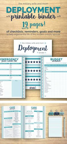FREE printable! Beautiful 19-page deployment binder for military spouses! Keep all things deployment organized neatly in one convenient place. via /lauren9098/
