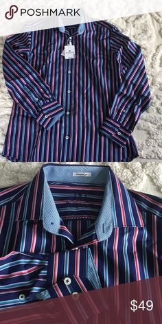 Men\'s sport shirt Fabulous bold stripe with contrasting collar & cuff linings. \