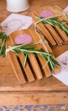 These bamboo servers can be dressed up to fit any theme. Great wedding favors for a rustic wedding theme.