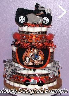 Neutral Diaper Cakes/Harley Davidson Diaper Cake Is My Unique Creation That  Is A Perfect Shower Gift Idea Or Centerpiece!