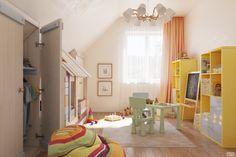Дизайн детской комнаты для малыша на мансарде
