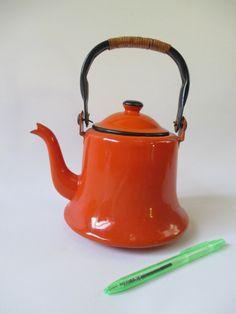 Tea Pot Vintage Orange and Black Enamel 1 Quart by HobbitHouse