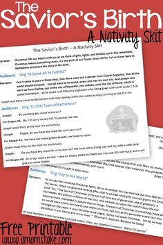 For our Sunday school Free printable Nativity Skit to act out the birth of the Savior Jesus Christ - a fun activity for Christmas with the Kids Christmas Plays For Kids, Christmas Skits, Ward Christmas Party, Christmas Pageant, Christmas Program, Christmas Concert, Childrens Christmas, Preschool Christmas, Christmas Activities
