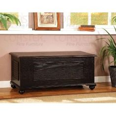 Coaster Contemporary Storage Cedar Hope Chest with Lift-Up Top, Black