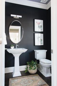 Black and White Powder Room with Blush Pink Vintage Rug - Transitional - Bathroom Half Bathroom Decor, Bathroom Renos, Bathroom Interior Design, Bathroom Renovations, Small Dark Bathroom, Bathroom Ideas, Bathroom No Window, Half Bathroom Wallpaper, Half Bath Decor