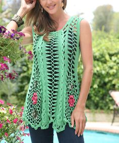 Detailed in crochet with embroidered accents, this sleeveless tunic boasts a boho-chic vibe. Its loose knit feels light and airy, while soft cotton construction guarantees nonstop comfort. Crochet Skirts, Crochet Tunic, Crochet Clothes, Crochet Lace, Hairpin Crochet Pattern, Hairpin Lace Patterns, Moda Crochet, Broomstick Lace, Crochet Summer Tops