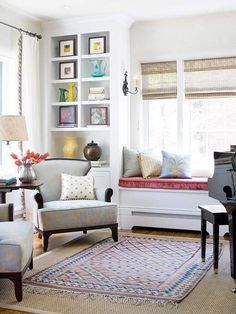 Lots of color and accessories doesn't mean a space has to be cluttered. Everything has a place in this bright sunny space.
