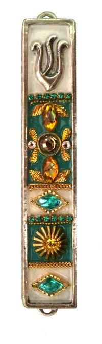 New Mezuzah Handmade Art Turquoise Swarovski by IrinaSmilansky, $35.00