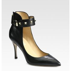 Valentino Rockstud Leather Ankle Strap Pumps found on Polyvore