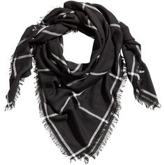 Scarf $12.99 ($13) ❤ liked on Polyvore featuring accessories, scarves, woven scarves, fringe scarves, checkered scarves, fringe shawl and black and white shawl
