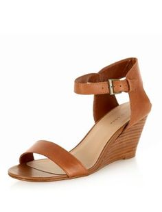 Tan Leather Ankle Strap Wedges  | New Look
