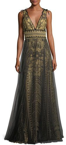 d82cdb3430fa Marchesa Notte Tulle Overlay Sleeveless Embroidered Evening Gown ...