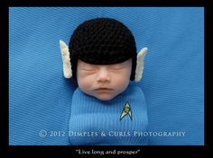 Awesome. The Newborn Spock Hat Prop. $40.00, via Etsy NewbletKnittings