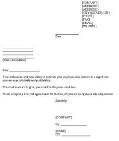 letter of appreciation to employee template