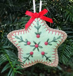 Wool Felt Embroidered Star Sugar Cookie Ornament by FHGoldDesigns, $7.00  #Ornament, #StarOrnament, #WoolFeltOrnament