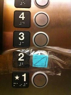 elevator buttons, funny signs... i would so do this if i could...
