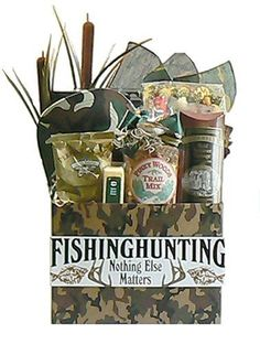 Father's Day gift basket, Fathers Day gift baskets, Father's Day gift ideas, crackers, sausage, coffee, cheese, trail mix, popcorn, bandana. $74.99   http://www.oldtimechocolates.com/store/fathers-day-gift-baskets/nothing-matters-but-fishing-and-hunting-gift-basket-valentines-gift-idea-for-him-fathers-day-gift-idea-777700000403030/