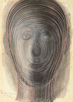 Pavel Tchelitchew - Spiral Head (III) - 1950 ink and pastel on paper
