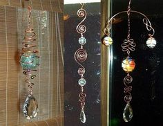 Wire Art Danglers & Suncatchers ~ Wire and Gauge Wire art - Also known as dangles, danglies, danglers, doodads, spirals, suncatchers, thingies, and wire widgets - can hung from a tree branch, a hook, perched in a flower pot, or stuck in the ground depending, of course, on your individual tastes....
