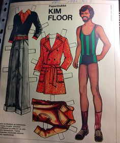 Paper doll Kim Floor 1972 Fabric Doll Pattern, Fabric Dolls, Vintage Paper Dolls, Adult Children, Crafty Craft, Paper Toys, Old Toys, Nostalgia, Retro