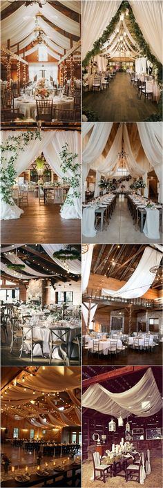 rustic country barn wedding reception ideas with draping #wedding #weddingideas #barnwedding