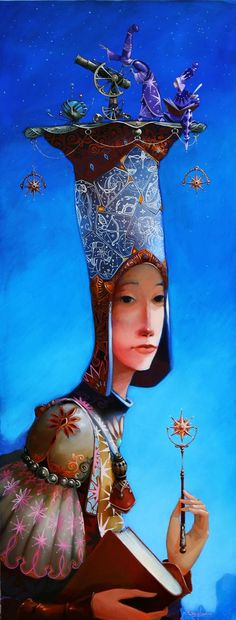 blue - woman - hat - A star for you - Merab Gagiladze - მერაბ გაგილაძე Art And Illustration, Illustrations And Posters, Fantasy Kunst, Arte Pop, Fantastic Art, Whimsical Art, Surreal Art, Illustrators, Oil Paintings