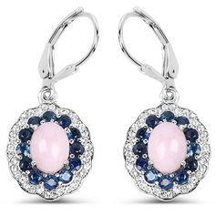 $175...Fashionable 4.00ct Pink Opal, Blue Sapphire & White Topaz Sterling Silver Earrings