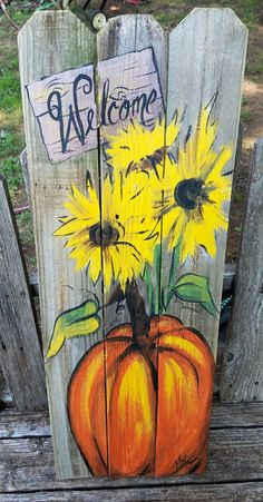 Pumpkin sunflowers Welcome wooden Fall\ art on reclaimed wood fence\ Rustic\ Artist Bill Miller of Miller's Art/ Fall/Front Porch decor Pallet Painting, Pallet Art, Painting On Wood, Diy Pallet, Pallet Wood, Pallet Storage, Pallet Beds, Wooden Pallets, Christmas Crafts To Sell Bazaars