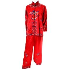 1940s Vintage Chinese Pajamas Red Silk Embroidered Top and Bottoms ( 385) ❤  liked on 76653a8a5