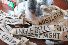 stenciled Burlap Banners made with prewired burlap ribbon