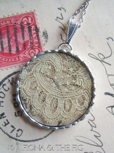 Fiona & The Fig Antique Civil War Era  Lace Soldered Necklace Pendant Charm. $8.00, via Etsy.