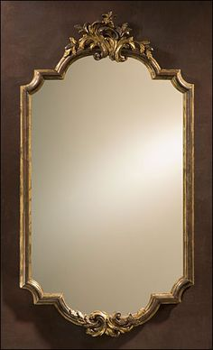 Baroque framed mirror in antiqued real silver-leaf and mecca finish