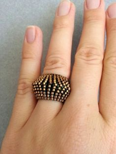 Green Bronze Ring Band Peyote Ring Beaded Ring Handmade by ByElir, €16.00