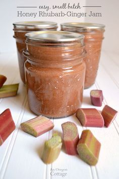 Sweetened only with honey, this rhubarb jam has a zing of ginger that makes toast and PB&J amazing.