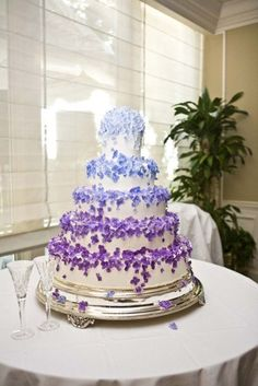 white and light purple wedding cake - Google Search