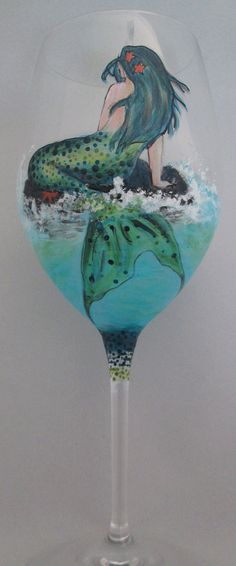 LOVE!!!!!! Mermaid and Whales Tail Wine Glass by cassidy808 on Etsy