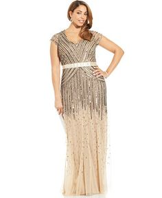 Adrianna Papell Plus Size Cap-Sleeve Beaded Sequined Gown - Dresses - Plus Sizes - Macy's