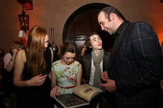 """HOLLYWOOD, CA - MARCH 18: (L-R) Actors Sophie Turner, Maisie Williams, Isaac Hempstead Wright and Rory McCann attend the after party for """"Game Of Thrones"""" Los Angeles Premiere presented by HBO at Hollywood Roosevelt Hotel on March 18, 2013 in Hollywood, California. (Photo by FilmMagic/FilmMagic)"""
