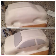 Here's how the Fiat 500 cake started. I tried to add as much detail below the fondant as i could. I added the back spoiler and the roof racks but be careful they don't slip as you roll the fondant. Cutting out the holes for the wheels also worked a treat as I was then able to turn the front wheels which looked very effective.