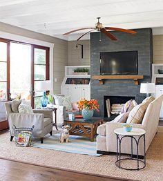 Pale blue, white, and taupe combine in this coastal living room: http://www.bhg.com/decorating/decorating-photos/living-room/coastal-connection/?socsrc=bhgpin011915coastalconnection&living-room