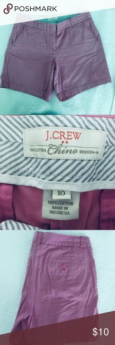 "J. Crew Broken-In Chino Shorts Sits just above hip. Front rise: 9 3/4"". 4"" inseam.  Size: 10 J. Crew Shorts"