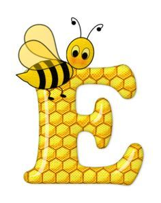 Alphabet letters bee on honeycomb. Bee Pictures, Scrapbook Letters, Spelling Bee, Alphabet And Numbers, Alphabet Letters, Bee Happy, Busy Bee, Letter Art, Cool Cartoons
