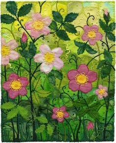Wild Roses    Tangles of rose brambles growing erratically under my needle. This is no elegant William Morris design, but a wild and messy roadside attraction.    Art quilting with raw-edge appliqué, free-motion machine embroidery, couching, French knots and a few glass beads. Mostly cotton fabrics, quilting grade, and some hand-dyed fabrics too.